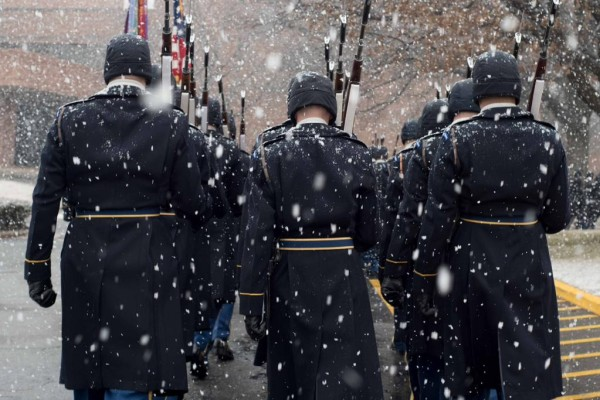 Soldiers from The Old Guard in the snow  (photo via @The_Old_Guard)