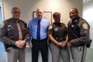 From left, Cpl. Joseph Ferguson, Judge Thomas Kelley Jr., Cpl. Phyllis Henderson and Cpl. Edwin Hill (photo courtesy Maj. Susie Doyel)