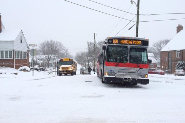 A stuck Metrobus at S. Joyce Street and 23rd Street