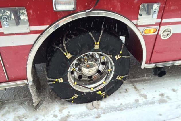 Chains on a fire truck tire