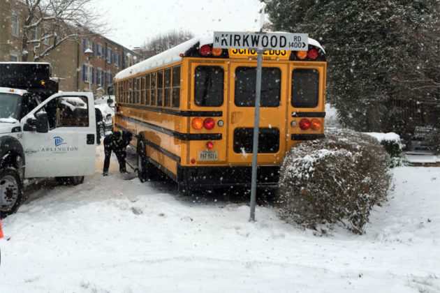 School bus accident on N. Kirkwood Road (photo courtesy Rob Laybourn)