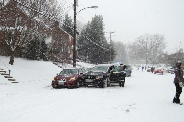 Car accidents abound on N. McKinley Road next to McKinley Elementary School (photo courtesy Christopher Day)
