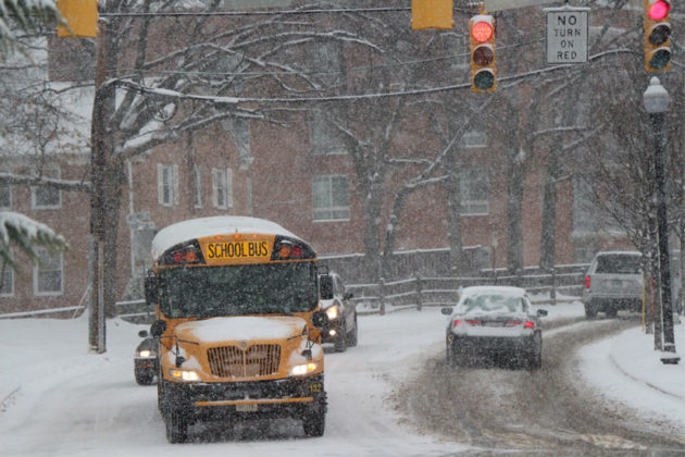A school bus makes its way to school at 9:30 a.m.