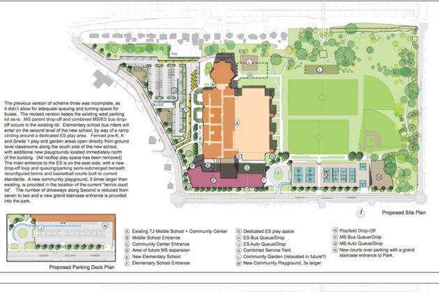 Scheme Three of the proposed Thomas Jefferson elementary school site