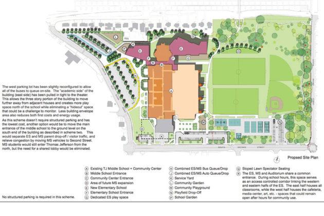 Scheme Four of the proposed Thomas Jefferson elementary school site