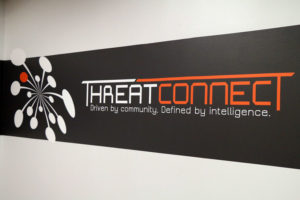 The logo in ThreatConnect's office