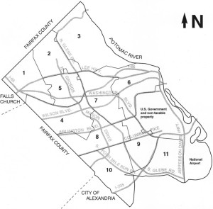 """Arlington's residential assessment map, divided by """"trend area"""""""