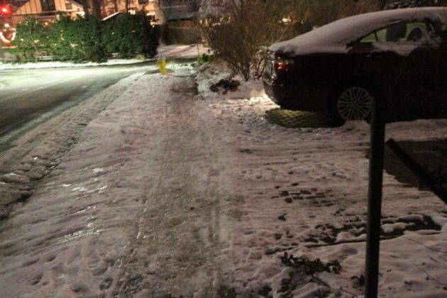 The sidewalk in front of Jay Fisette's house Wednesday night