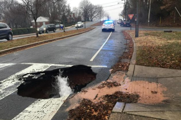 Geyser caused by water main break on Feb. 2 (photo via ACPD)