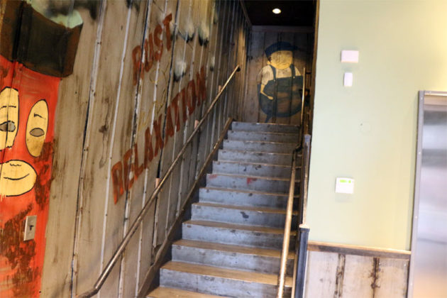 The stairs leading up to Highline's second-floor location