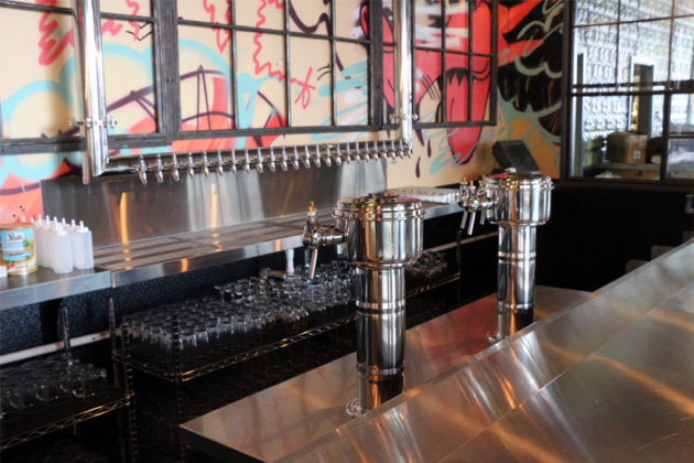 The eight wine taps at Highline RXR in Crystal City
