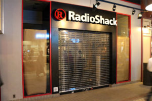 The closed RadioShack in the Crystal City Shops