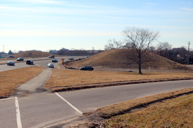 The mounds of dirt at the Route 50-Washington Blvd interchange