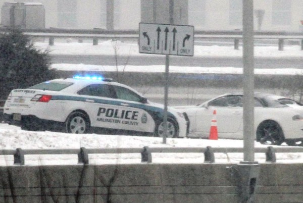Single-vehicle accident on an I-395 ramp near the Pentagon during a snowstorm 2/21/15