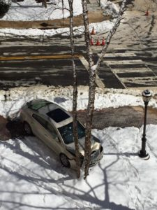 Car into tree due to icy conditions at 14th Street and N. Veitch Street (Photo courtesy @aklake34)