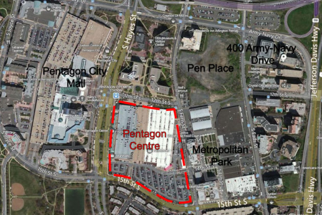 A map of the approved future development of Pentagon City