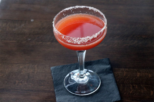 The Wexler's Secret, made with Patron silver, blood orange and lime juice, Torres orange liquor and jalapeno salt