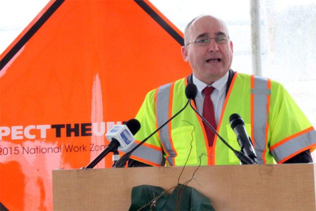 Federal Highway Administration Deputy Administrator Gregory Nadeau speaks on work zone safety in Arlington