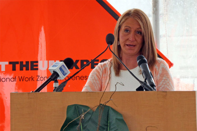 Teresa Keen, widow of a VDOT worker killed on a highway work site