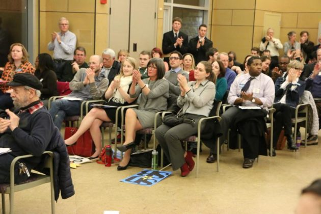 Crowd applauds at the March 2015 Arlington County Democratic meeting