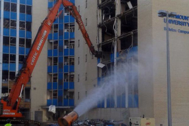 The Blue Goose building in Ballston being torn down April 6, 2015 (photo via @Norr_Fit)
