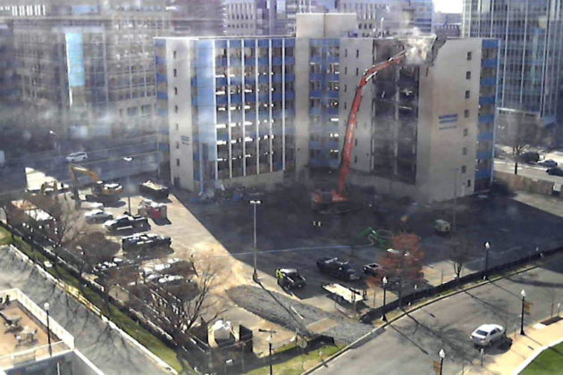 The Blue Goose building in Ballston being torn down (photo via Allied Chance/Facebook)