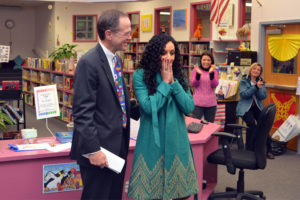 APS Superintendet Patrick Murphy gives Dahlia Constantine the 2015 Teacher of the Year award (photo courtesy APS)