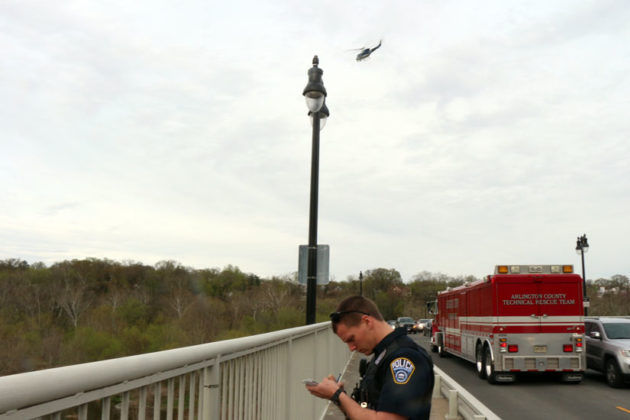 The helicopter circles the scene at Chain Bridge