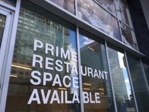 """Restaurant space available"" sign in Rosslyn"