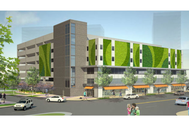 Rendering of the planned parking garage along 15th Street S.