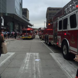 Fire response outside Rosslyn Metro 5/11/15 (photo via @WashingtonFlack)