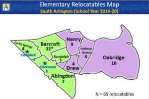 Where Arlington Public Schools is planning to put relocatable classrooms in the 2019-2020 school year