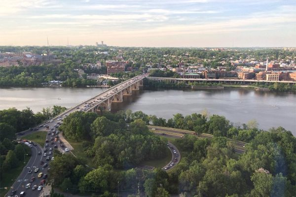 View of Key Bridge, the Potomac River and D.C. from the Waterview building in Rosslyn