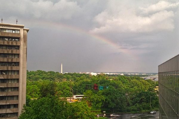 Rainbow over D.C. on 5/18/15 as seen from Rosslyn