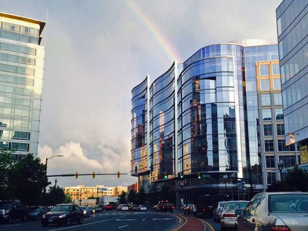 Rainbow over Ballston (photo courtesy Valerie)