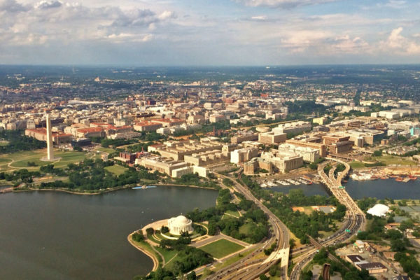 Aerial view of D.C. and the monuments from a flight departing from DCA