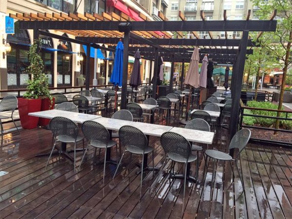 Empty outdoor seating in Pentagon City, due to rainy and cool weather
