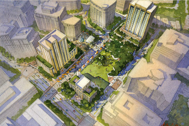 A rendering of a bird's-eye view of Courthouse Square. (Courtesy of Arlington County)