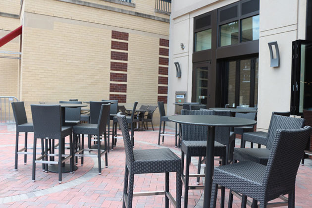 Guests will be able to sit on the patio soon.