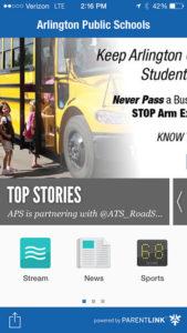 APS app homepage