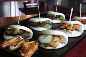 Pork, beef and chicken buns at Gaijin Ramen Shop