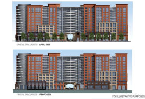 Planned apartment building and church in Potomac Yard