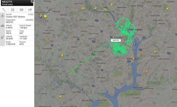 Flightrader24 track of possible surveillance plane over Arlington