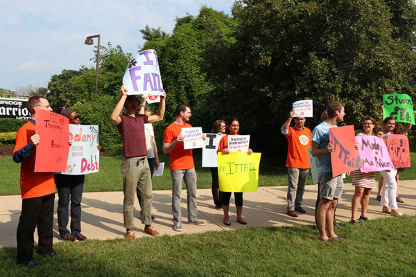 ITT Tech Protest group in Rosslyn, July 2015 (file photo)