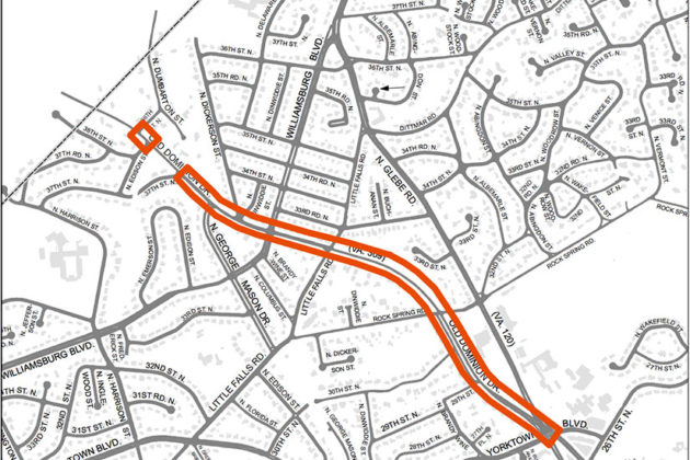 Map of Old Dominion Drive project (Courtesy of Arlington County)