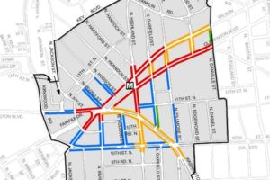 Retail plan color coded map for Clarendon