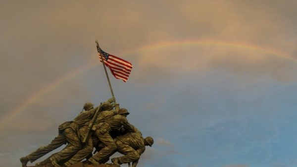 Rainbow over the Iwo Jima memorial (Flickr pool photo by John Sonderman)