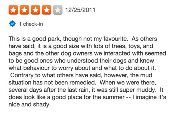 Yelp Review of Benjamin Banneker Park