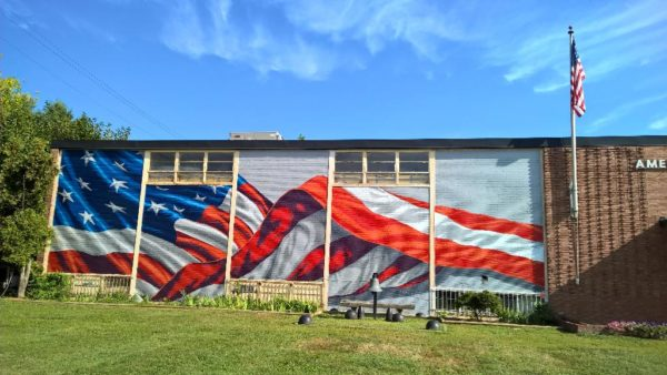 Flag mural on Virginia Square VFW post (photo courtesy @jbester)