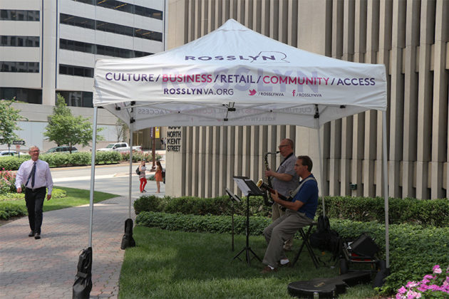 Rosslyn BID set up music near the new food truck zones